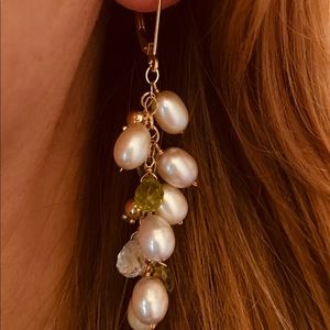 Jewelry - 14KT Yellow Gold Pearls & Gemstones Drop Earrings